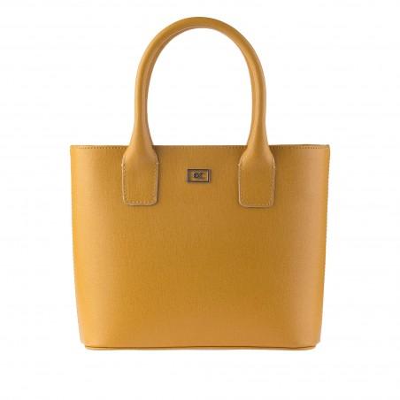 Kožená dámska kabelka, mustard saffiano