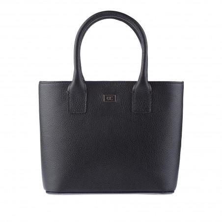 Kožená dámska kabelka, čierna