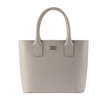 Kožená dámska kabelka, cement