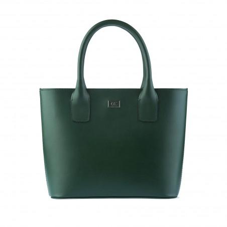 Kožená dámska kabelka, olivovo-zelená