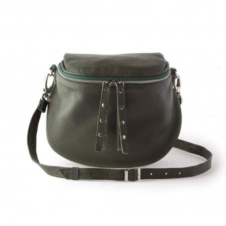 Kožená crossbody kabelka, zelená
