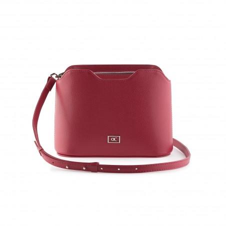Dámska kožená kabelka cez rameno, červená