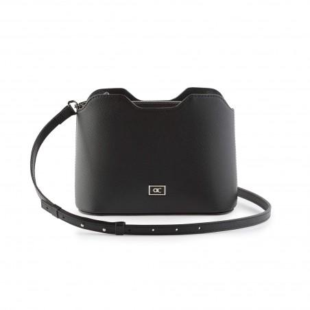 Dámska kožená kabelka cez rameno, čierna