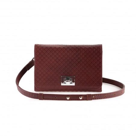 Dámska kožená kabelka na rameno, bordó