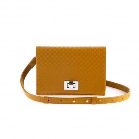 Dámska kožená kabelka na rameno, mustard