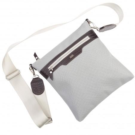 Kožená taška na rameno, sivá