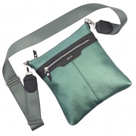 Kožená taška na rameno, zeleno čierna