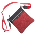 Kožená taška na rameno, červeno čierna