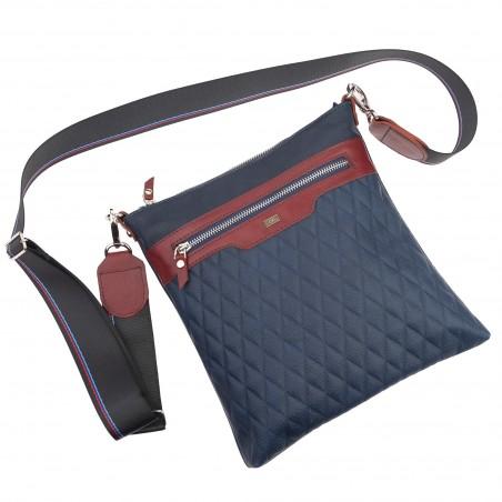Kožená taška na rameno, modrá piko