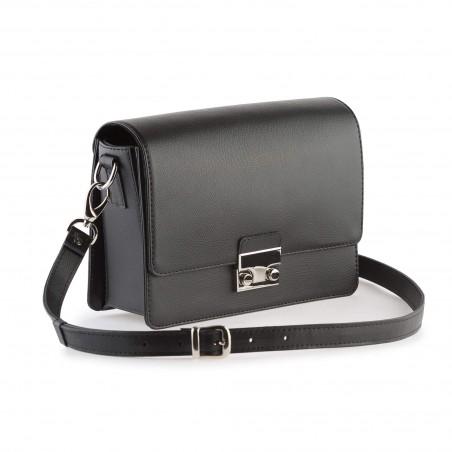 Dámska kabelka koža na rameno, čierna
