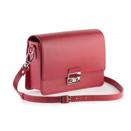 Dámska kabelka koža na rameno, červená