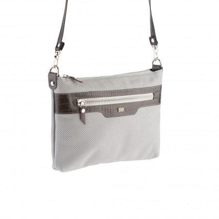 Kožená kabelka na rameno, sivá
