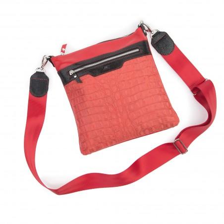 Kožená taška na rameno, červená kroko