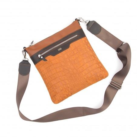 Kožená taška na rameno, hnedá kroko
