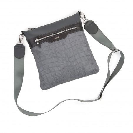 Kožená taška na rameno, sivá kroko