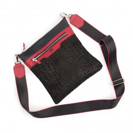 Kožená taška na rameno, čierna kroko
