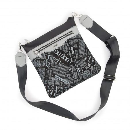 Kožená taška na rameno, čierna tlač