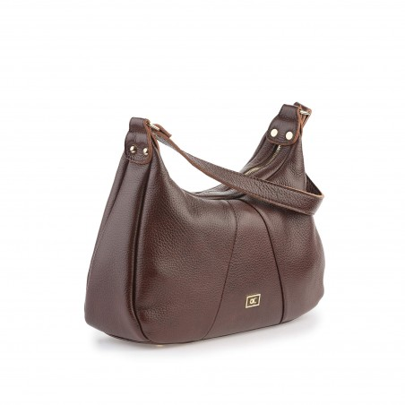 Dámska kožená kabelka, hnedá