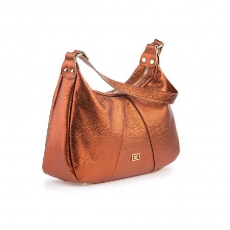 Dámska kožená kabelka, medená