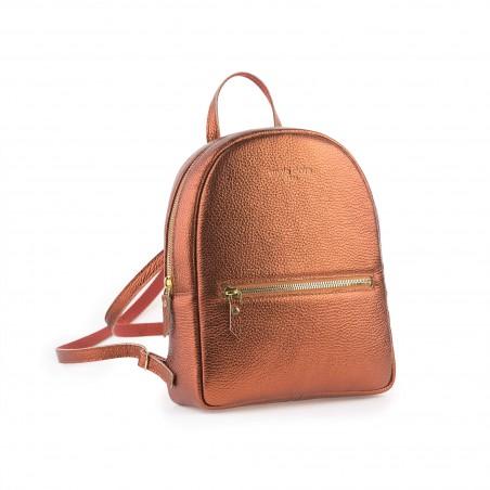 Dámsky kožený ruksak, medený