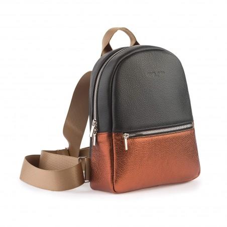 Dámsky kožený ruksak, čierny, medený