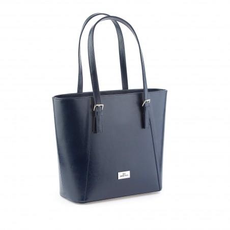 Elegantná kožená kabelka, modrá