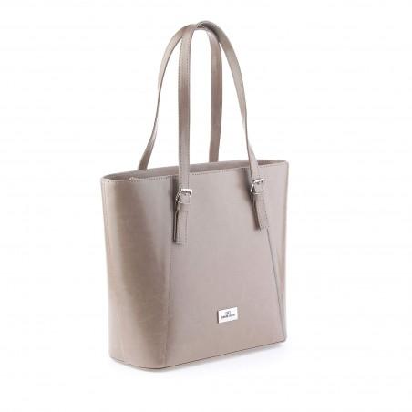 Elegantná kožená kabelka, béžová