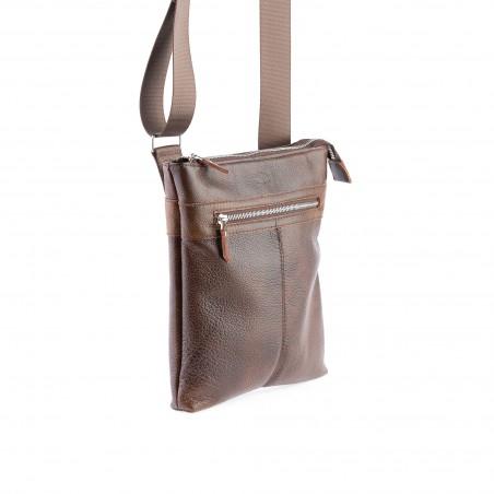 Kožená kabelka, crossbody, hnedá