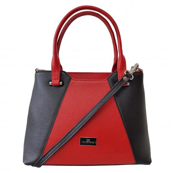 Dámska kožená kabelka, čierno-červená