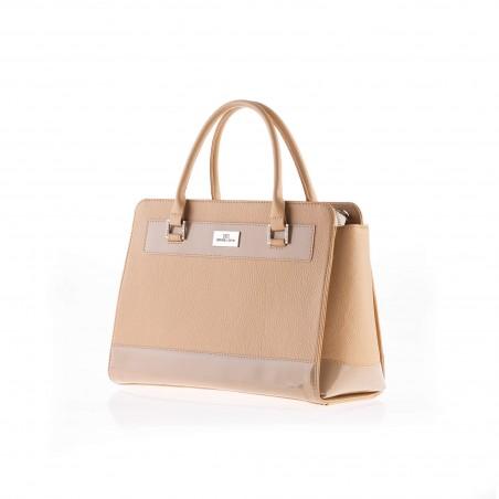 Dámska elegantná kožená kabelka, béžová