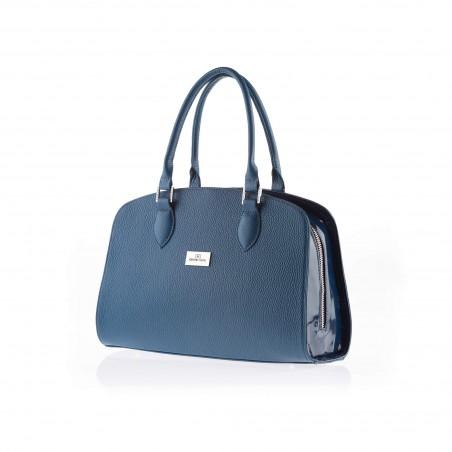 Dámska elegantná kožená kabelka, modrá