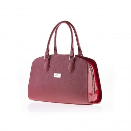 Dámska elegantná kožená kabelka, bordová