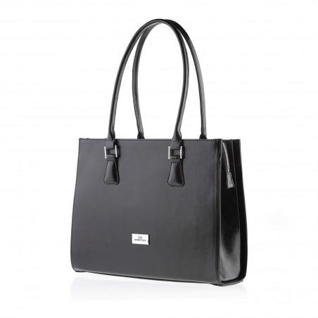 Dámska elegantná kožená kabelka, čierna