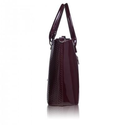 Dámska kožená kabelka, čierna safiano