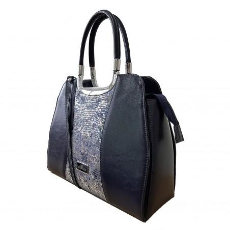 Dámska kožená kabelka, tmavomodrá metalic