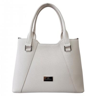 Dámska kožená kabelka, biela