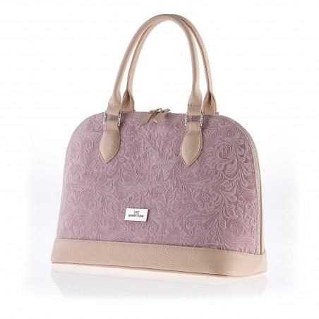 Dámska elegantná kožená kabelka, ružová