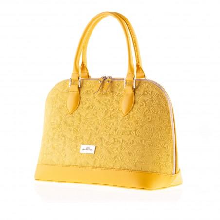 Dámska elegantná kožená kabelka, žltá