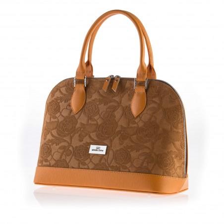 Dámska elegantná kožená kabelka, hnedá