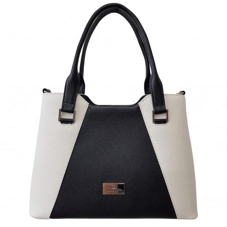 660f85ae903a3 Dámska kožená kabelka, čierno-biela