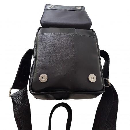Pánska kožená crossbody kapsička, čierna