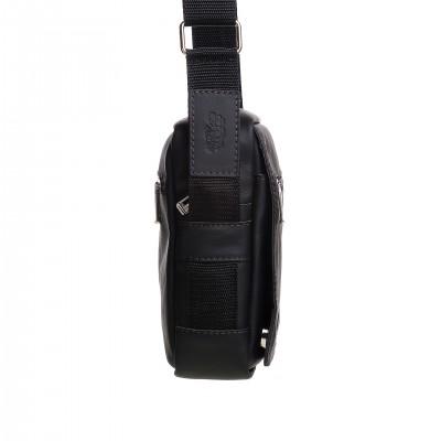 Pánska kožená crossbody kapsička, čierna napa