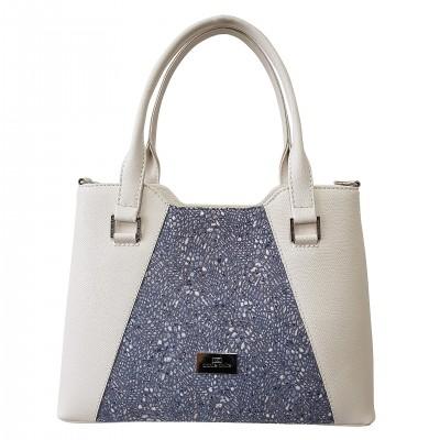 Dámska kožená kabelka, biela so vzorom mramoru