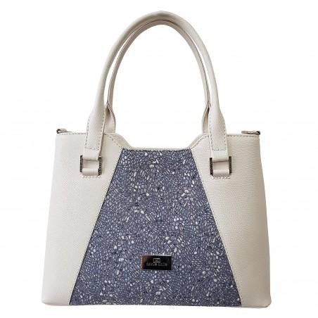 fdc199a0ca011 Dámska kožená kabelka, biela so vzorom mramoru