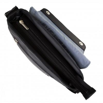 Pánska kožená crossbody kapsa, čierna