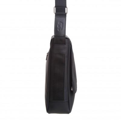 Pánska kožená crossbody kapsa, čierna napa