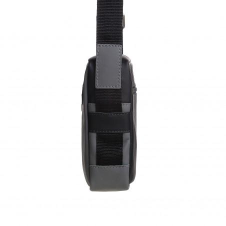 Pánska kožená crossbody kapsička, čierna napa s tmavošedou