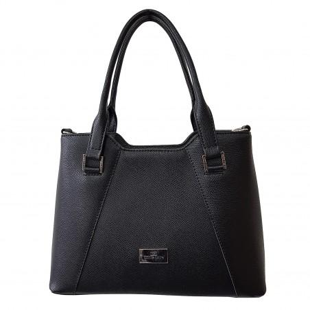 Dámska kožená kabelka, čierna