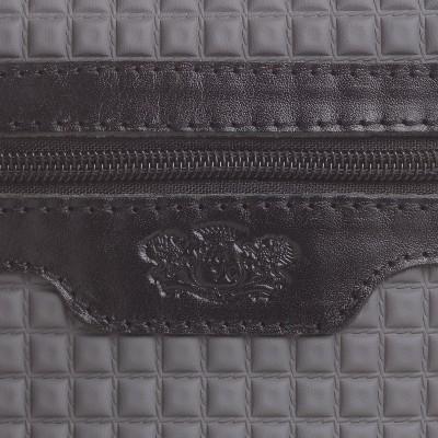 Pánska kožená crossbody kapsička, tmavošedá s čiernou