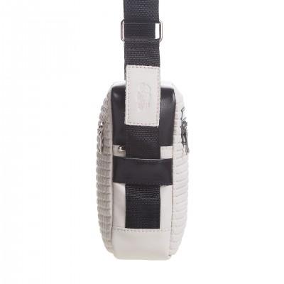 Pánska kožená crossbody kapsička, bordová s čiernou napa